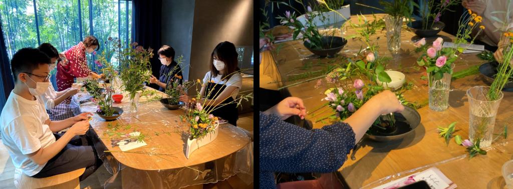 TOKYO CRAFT ROOMで行われた華道体験当日の様子